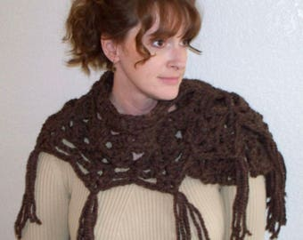Pattern only// Woodsy Caplet// rustic crochet// womens Caplet