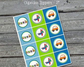 Planes, trains and automobiles transportation-themed  Cupcake Toppers - INSTANT DOWNLOAD
