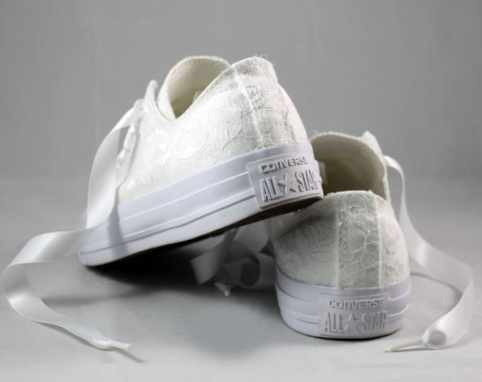 Featured listing image: White Lace Bridal Converses  --Lace Converse -- Wedding Tennis shoes  - Wedding Converse