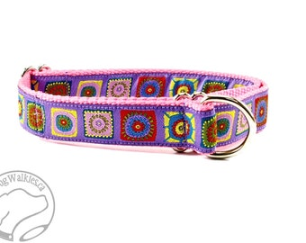 "Purple & Pink Funky Squares Dog Collar - 1"" (25mm) wide - Choice of style and size - Martingale or Quick Side Release"