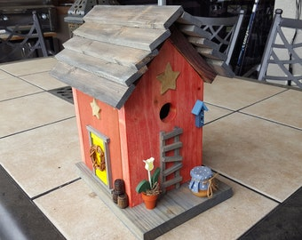 Beautiful red cottage Bird House