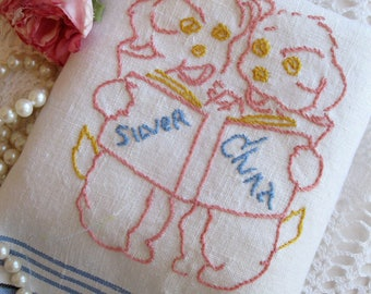 Vintage Linen Tea Towel, Doggy Embroidered Tea Towel, Vintage Glass and China Tea Towel, Puppies, French Linen, by mailordervintage on etsy