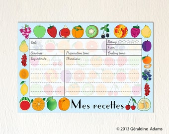 Recipe Cards set of 12 6x4 cards French Fruits Mes Recettes 2 sides gift for a cook gourmet Bridal shower gift hostess gift