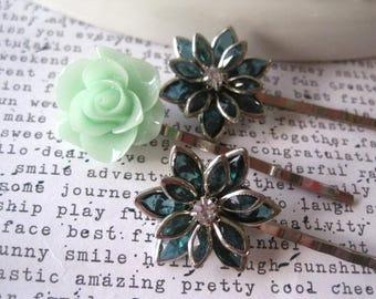 Green Flower Hair Pin Set, 3 pcs, Emerald Green, Mint Green, Rhinestone Hair Accessory, Bridal Hair Accessory, Small Gift, Stocking Stuffer,
