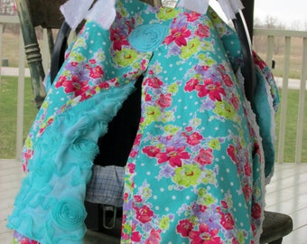 Amelia Blessings Bouquet Teal, Infant Carseat Canopy with Ties, Snap Opening Option, Unlined OR Turquoise Chiffon Roses/Cotton Lining Option