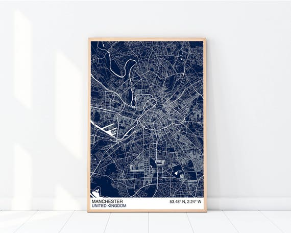 Manchester Map Poster Custom Map Print Street Map Large