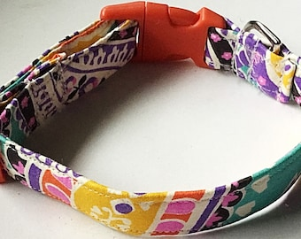 Colorful Floral Summer Collar for Girl Dog or Cat with Orange Buckle