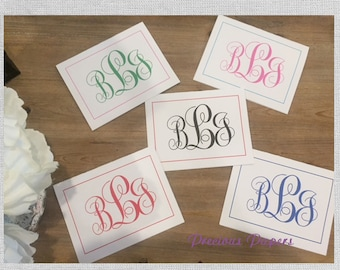 Personalized monogrammed notecards monogrammed note cards fancy script graduation gift teacher gift
