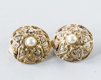Vintage gold tone clip, Pearl and rhinestone earrings