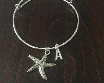 Personalized Starfish Bracelet, Starfish Bracelet, Starfish Bangle, Star Fish Bracelet, Bracelet, Charm Bracelet, Charm Braclet, Braclet