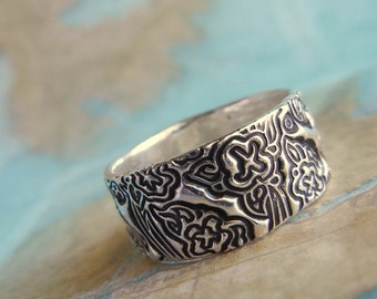 Tooled Leather Jewelry, Flower Tooled Leather, Floral Tooled Leather Jewelry, Sterling Silver Ring Boho Jewelry by HappyGoLicky Jewelry
