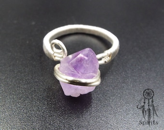 Amethyst Ring/Adjustable Sterling Silver Ring/Purple Stone/Silver Plated Wire/Raw Gemstone/Crystal/Boho/Bohemian/Hippie/Gift idea for her