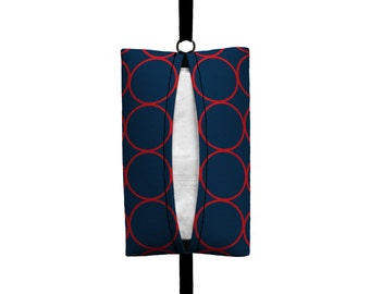 Auto Sneeze - Rings - Visor Tissue Case/Cozy - Car Accessory Automobile - Navy Blue and Red - Circles