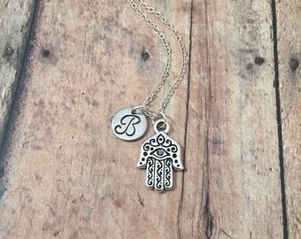Hamsa initial necklace - Hamsa jewelry, hand of Fatima jewelry, yoga jewelry, khamsa necklace, silver Hamsa pendant, hand of Miriam necklace