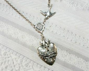 Silver Necklace - Silver Sacred Heart - Jewelry by BirdzNbeez