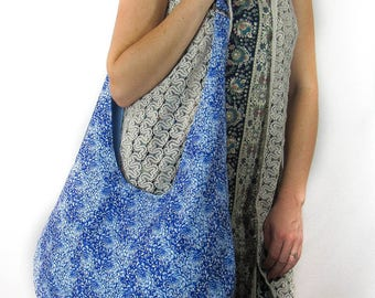Hobo Bag Purse, Medium Size Fabric Tote Bag, Over The Shoulder  Floral Blue Mums Bag, Beach Bag, Hippie Bag.