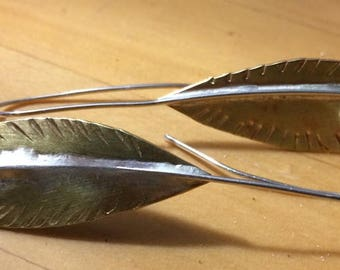Brass Leaf Earrings with Sterling Silver Posts