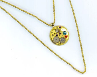 Steampunk Vintage Golden Pendant . Swarovski Rhinestones . Jewel  Watch Mechanics .Victorian Gothic - Remember by enchantedbeas on Etsy