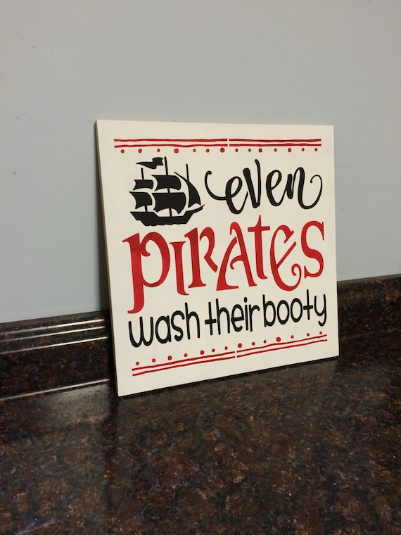 Items Similar To Pirate Bathroom Decor Shower Curtain Even Pirates Wash Their Booty And Mermaid Little Boy Wall