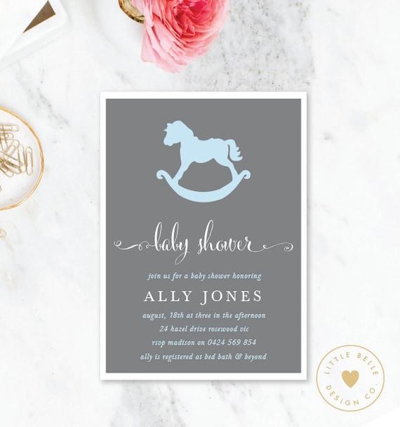 Boy baby shower invitation rocking horse baby shower invite filmwisefo
