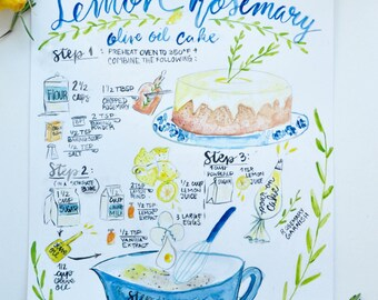 Lemon Rosermary Olive Oil Recipe Art Illustration/Custom/Watercolor/Print/11x14