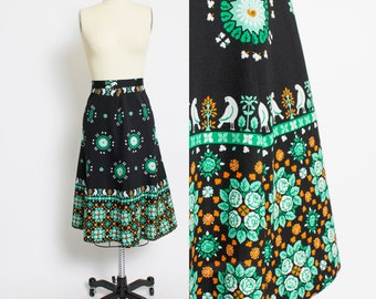 Vintage 1970s Skirt - Ethnic Printed Bits & Roses Flared Full Boho Skirt 70s - Medium