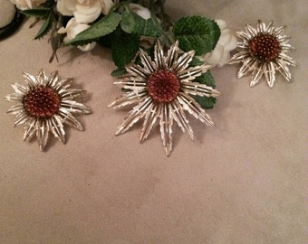 Sarah Coventry Sunflower Collection, Matching Brooch/Pendant & Earrings Set, Clip On, Pristine Condition FREE SHIPPING