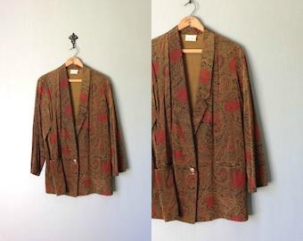 Vintage TERRAZZIA Blazer • 1990s Clothing • Oversized Lightweight Jacket 90s Modern Grunge Paisley Print Gold Outerwear • Women Medium Large
