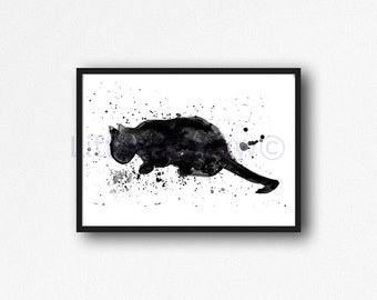 Black Cat Print Splatter Cat Watercolor Painting Print Cat Painting Kitties Cat Wall Art Cat Lover Gift Art Print Wall Decor Unframed