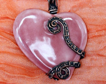 Soft Rose Pink Heart - Wire wrapped Pendant