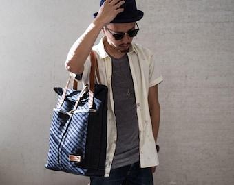 Tote bag T112/ leather handles / roll top bag, shopper bag, everyday bag, handmade