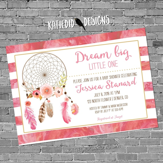 Dreamcatcher couples baby shower invitation tribal boho rustic twins baptism pink floral watercolor sprinkle graduation   1387 Katiedid card
