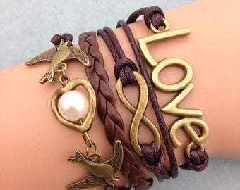 Love, Leather Charm Bracelet, Gift, Jewelry, Bracelet, Birthday,Bronze Charms 2 doves, heart with pearl and infinity