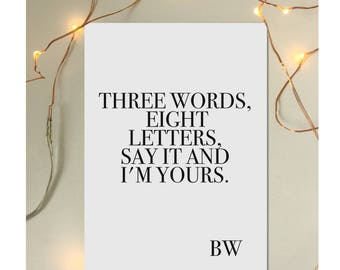 "Gossip Girl Blair Waldorf Quote Print Poster - ""Three words eight letters say it and I'm yours"""