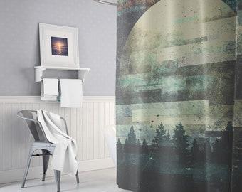 Boho Artwork Shower Curtain, Bohemian Shower Decor, Forests Artwork, Boho Bathroom Decor, Moonchild, Moon, Wanderlust, Nature, Gifts, Indie