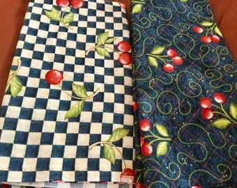 Blue Cherry Print Cotton Fabric | 1 Yard by 45 inches wide | 2 pieces
