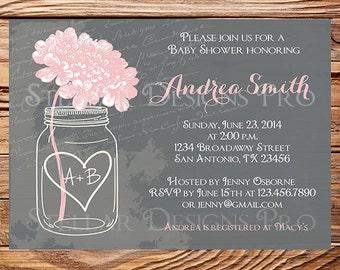 Baby shower invitation, Gray Hydrangea baby shower Invitation, yellow, green, pink, green, hydrangea shower invitation, 1133
