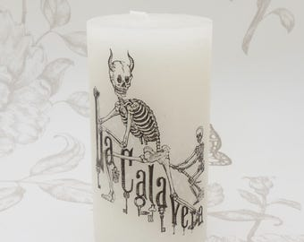 Gothic pillar candle Day of the dead -skeleton candle -gothic home decor- occult- witchcraft -macabre