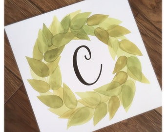 Custom 12x12 Initial Magnolia Wreath Print