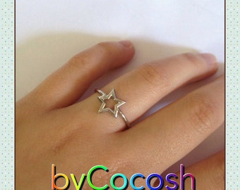 Star ring. Sterling silver 925. Handmade ring. Sterling ring. Silver ring. Star jewelry,bycocosh,FREE SHİPPİNG