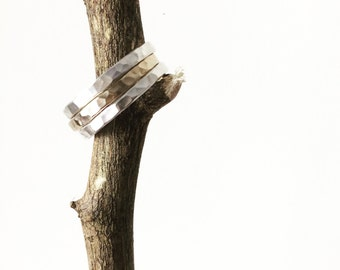 Men's Stacking Rings, Hammered Silver Ring