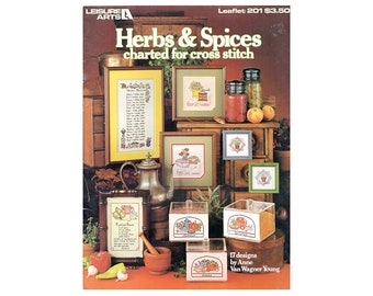 Herbs & Spices Cross Stitch Booklet, Country Cross Stitch, Kitchen Cross Stitch, Country Patterns, Kitchen Patterns, by NewYorkTreasures