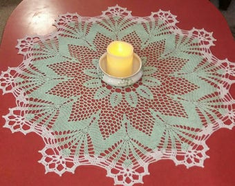Large Mint Green Doily 29 1/2""