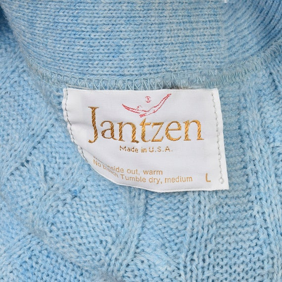 Neck Knit 60s Blue 1960s Cardigan Front Sleeves Knit Mens Vintage Separates V Large Sweater Cable Long Button Baby Jantzen Menswear UZAW7wq