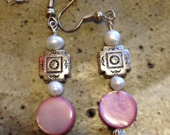 Pale pink mother of pearl earrings with fresh water pearls