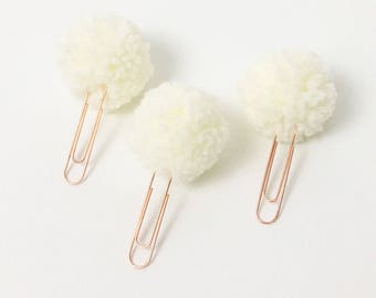 Rose Gold Pom Pom Clip Set - Black, Rose, Gray, Cream - Planner Clips - Rose Gold Collection
