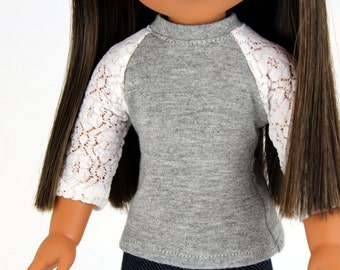Fits like Wellie Wishers Doll Clothes - The Baseball Raglan Tee in Heather Gray and Lace | 14.5 Inch Doll Clothes