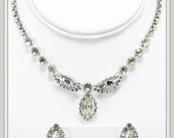 Vintage Rhinestone Jewelry Set,Vintage Weiss Rhinestone Demi Parure,Rhinestone Set,Vintage Weiss Choker,Vintage Weiss Rhinestone Choker