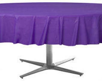 Strong Reusable 84 Inch Round Purple Plastic Table Cover   Purple Tablecloth