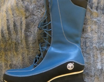 Ladies boots/timberland boots/lace up/below the Knee ladies boots/blue and black/upper leather/rubber sole